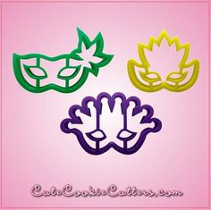 Our Mardi Gras Mask Cookie Cutter Sets include 3 different masks, each made out of colorful plastic. Cleaning instructions: hand wash, towel dry.  Buy your set