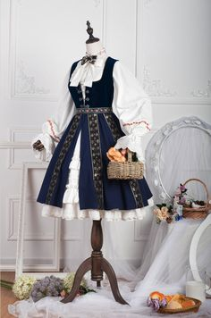 ZJ Story -Anna Polka- Vintage Classic Embroidery Lolita Jumper Dress