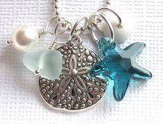 Beach !! Sea Glass Necklace Summer Beach Love by GardenLeafDesign on Etsy, $24.00