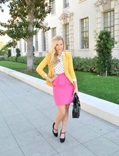 Skirt - Alice + Olivia (Similar here & here ), Top - Equipment , Sunglasses - Target , Blazer - BCBG Max Azria , Heels - Target . Yellow Blazer, Thing 1, Church Outfits, Office Fashion, Classy And Fabulous, Everyday Outfits, My Wardrobe, Spring Summer Fashion, Style