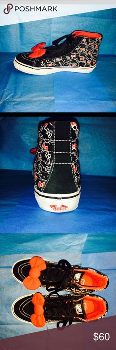 Vans Hello Kitty Hi-Tops w/ Suede in front EUC 🎀 Vans Hello Kitty Sneakers w/ large red bows on brand new laces. In pristine condition! Hello Kitty print with Suede in front. Super clean with very little flaws on Red Vans labels in back of shoes. Vans Shoes Sneakers