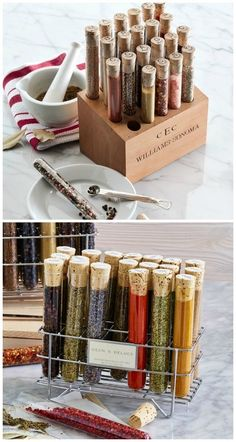 Wondering how to organize spices on your counter? These spice tube racks do the job and look great, too. Glass Kitchen, Diy Kitchen, Kitchen Gadgets, Spices Packaging, Spice Organization, Cool Kitchens, Coffee Shop, Packaging Design, Organize Spices