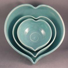 Romantic Blue Ceramic Nesting Heart Bowls MADE by BlueSkyPotteryCO, $90.00