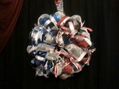 Half & Half Christmas Wreath before the ornaments. Dallas Cowboys\Texas Tech Red Raiders  11.23.14
