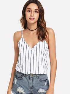 04b59ade03 Double V-Neck Striped Cami Top Striped Cami Tops