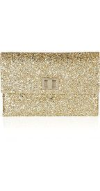 Anya HindmarchValorie glitter-finished leather clutch