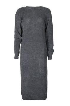 Vestido Tricot Cinza Midi