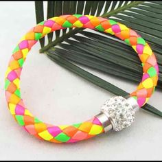 """NEW MULTI COLOR Leather & Magnet Closure Bracelet NEW MULTI COLOR Leather & Magnetic Closure RHINESTONE Bangle.   Wear casual or dressy!!  Multi Colors Reflects Price Difference!!  LENGTH:  7 1/2"""" Jewelry Bracelets"""