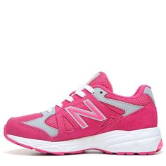 New Balance Kids' KJ888 Medium/Wide/X-Wide Running Shoe Grade School Shoes (Pink/Grey Leather) - 7.0 W