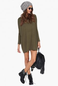 Olive Green Long Sleeve Tunic - The essential Olive Green Long Sleeve Tunic has hit Bikini Luxe! This color is all the rage this season, and a comfortable long sleeve style goes perfectly from day to night. The Hipster doesn't just look good, it feels good. #hipstertunic