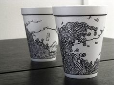 Cheeming Boey - styrofoam cup art.  Yes, really.  He draws on styrofoam cups with Sharpies.