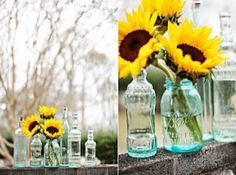 Use glass bottles and mason jars for vases...