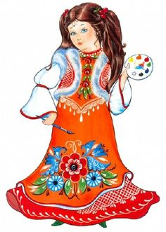 """Folk Gorodets painting from Russia. """"Russian Beauty"""" in Gorodets style. #art #folk #painting #Russian"""