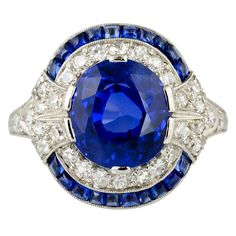 Natural Burma Sapphire And Diamond Art Deco Platinum Ring