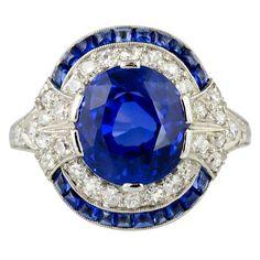 Natural Burma Sapphire And Diamond Art Deco Platinum Ring, circa 1930's. Beautiful design. B.
