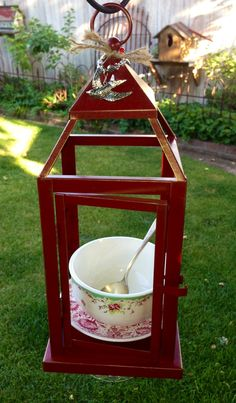 """New """"Red Lantern """" Bird Feeder   Vintage red flower print china plate with cute bowl with flowers & silver spoon, all sits on red lantern .. Under the lantern is mounted a vintage sugar bowl turned upside down . At the top is a Lg Bird charm with beautiful matching beads . Gift card & organic bird seed included with all Bird Feeders :)  $45 + shipping cost"""