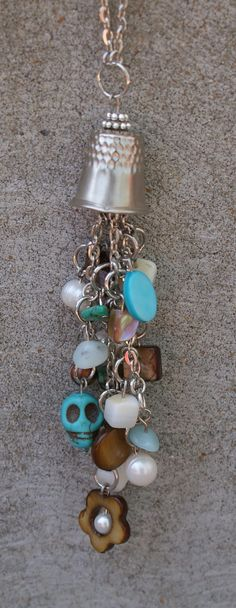 Thimble Charm Necklace.  Love this with the thimble~!~