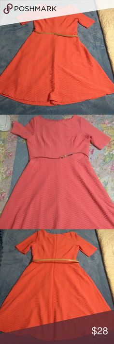 """Jessica Howard Dress Beautiful fit and flare dress in a coral/salmon color. Great addition to any wardrobe. Fabric is a beautiful raised textured and is a poly/spandex blend with stretch. Measurements are taken flat bust 20"""", 16"""", length 40"""". I'm 5'5 and it came below my knees. Last photo shows true color. Thank you for shopping! Jessica Howard Dresses Midi"""