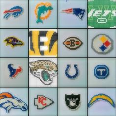 >> AFC NFL Perler Beads Chains << #PerlerBeads #HamaBeads #PerlerBead #NFL #AFC #Football #BuffalloBills #Bills #MiamiDolphins #Dolphins #NewEnglandPatriots #Patriots #NewYorkJets #Jets #BaltimoreRavens #Ravens #CincinnatiBegnals #Bengals #ClevelandBrowns #Browns #PittsburghSteelers #Steelers #HoustonTexans #Texans #JacksonvilleJaguars #Jaguars #IndianapolisColts #Colts #TennesseeTitans #Titans #DenverBroncos #Broncos #KansasCityChiefs #Chiefs #OaklandRaiders #Raiders #SanDiegoChargers… Melty Bead Patterns, Perler Patterns, Beading Patterns, Hama Beads Design, Diy Perler Beads, Beaded Cross Stitch, Cross Stitch Patterns, Seed Bead Crafts, Beaded Banners