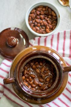 Slow cooked pinto beans with a homemade sweet and smokey sauce. A family heirloom recipe for the best baked beans that you have ever tasted--no cans here! Baked Beans Crock Pot, Canned Baked Beans, Best Baked Beans, Pinto Bean Recipes, Beans In Crockpot, Homemade Baked Beans, Baked Bean Recipes, Crockpot Recipes