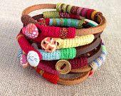 leather and crochet bracelet. $45.00, via Etsy.