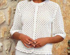 Womens CROCHET PATTERN Ladies Crochet Jacket Gilet Sweater Top