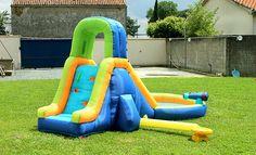 Station gonflable, piscine, canon à eau et toboggan - montage facile  220 X 440…