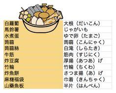 【相關用語「關東煮」】 進入11月後,早晚都變得非常涼爽,此時特別想吃熱食,今天我們就來學習關於「關東煮」的各種日語相關用語,有興趣的朋友,可以參考一下喔。