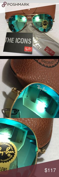 Ray Ban Aviator Sunglasses RB3025 Just in & wont last long ! Ray Ban Aviator Sunglasses 😎 RB3025 baby blue 58mm with PINK Ray Ban logo , gold frame. These are adorable !! Check out the other colors in my closet now available !! Buy with confidence from a seller that has raving reviews on Ray Ban Sunglasses 😎 Ray-Ban Accessories Glasses