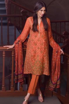 3 piece Luxe semi formally luxury Pakistani Pret Wear Ready to Wear Unstitched Coral Color dress by Zeen Cambridge Eid Collection 2017 is available online buy sale   #Alkaram #Zeen #Pret #Pretwear #Readytowear #Style #love #Eid #2017 #fashion #women #3piece #pakistani #Pakistan #bridal #prom #dinner #date #wear #dress #brand #designerwear #designer