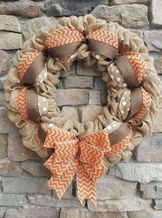 """The Kathleen"" Burlap/Orange Chevron Wreath"