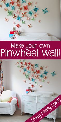 DIY whimsical pinwheel wall that actually spins! Such a fun idea for kids spaces, and it's SO inexpensive to make!