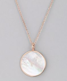 Take a look at this Rose Gold Mother-of-Pearl Pendant Necklace by Chloe Collection on #zulily today!