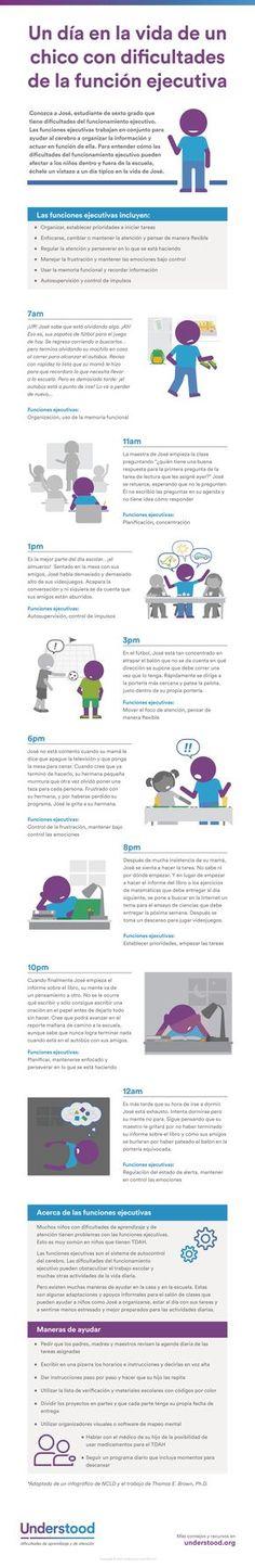 Aprenda sobre la función ejecutiva en los niños. Utilice este infográfico para ver cómo las dificultades del funcionamiento ejecutivo pueden afectar la vida diaria de los niños.
