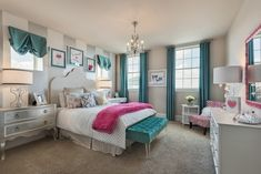 A royal room fit for your family! The Ashgrove is located in Cypress, TX. You'll enjoy estate-sized homes on waterfront sites in this gorgeous Cypress community Teen Girl Bedding, Teen Girl Bedrooms, Little Girl Rooms, Teen Bedroom, Dream Bedroom, Bedroom Ideas, Master Bedroom, Futuristic Bedroom, Silver Bedroom