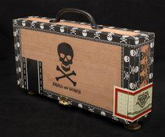 Magic The Gathering Wooden Deck Box - Skull and Bones Deck Box, Metal Drawers, Wooden Decks, Wood Slats, Skull And Crossbones, Skull And Bones, Magic The Gathering, Deck Of Cards, Vintage Metal