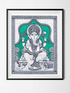 This is a fine art print of the original drawing done by me. The original drawing of this print was done using pens and acrylic paints. Made of intricate patterns and designs was mainly inspired by Kalamkari art style. <<WATERMARK WILL BE REMOVED FROM PRINTS>> This print of Lord