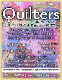NoneSuch Playmakers - Quilters - August 2018 Square Quilt, Musicals, How To Memorize Things, Lyrics, It Cast, Thankful, Song Lyrics, Music Lyrics, Square Blanket