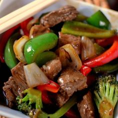 Spicy Beef Pepper Stir Fry is a healthy dinner choice full of red and green bell peppers, broccoli, onions and steak in a ginger garlic soy sauce. Stir Fry Recipes, Cooking Recipes, Recipe For Beef Stir Fry, Diced Beef Recipes, Leftover Steak Recipes, Skillet Recipes, Asian Recipes, Healthy Recipes, Healthy Nutrition
