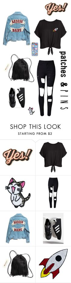 """Bang bang"" by beraes ❤ liked on Polyvore featuring Anya Hindmarch, New Look, adidas, H&M, Zero Gravity and patchesandpins"