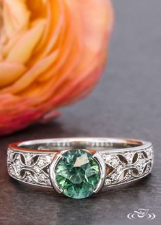Montana Sapphire Floral Engagement Ring. Green Lake Jewelry 115648