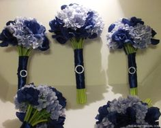 wedding bouquets with hydrangeas | Navy Rose and Blue Hydrangea Wedding Bouquets Unique Bridal Bouquets