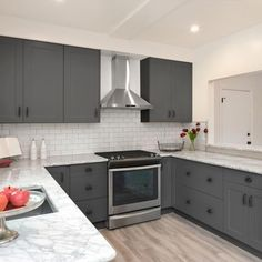 Modern Kitchen Design – Want to refurbish or redo your kitchen? As part of a modern kitchen renovation or remodeling, know that there are a . Diy Kitchen Cabinets, Grey Cabinets, Painting Kitchen Cabinets, Kitchen Furniture, Kitchen Remodeling, Soapstone Kitchen, Kitchen Countertops, Remodeling Ideas, Kitchen Sink
