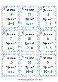 Gry matematyczne Ja mam Kto ma? Domino Memory Math 2, Math Games, Counting To 20, Educational Crafts, Kids And Parenting, Montessori, Therapy, Teacher, Memories