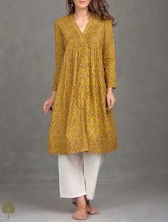 Mustard-Black Ajrak Printed Pleated Cotton Kurta - All About Pakistani Dresses, Indian Dresses, Indian Outfits, Indian Attire, Indian Ethnic Wear, Kurta Designs Women, Blouse Designs, Simple Dresses, Casual Dresses