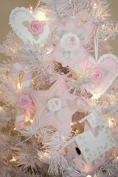Hand Painted hp and Hand Made Pink Clay Roses Shabby Cottage Chic  Christmas Ornaments Faux Cookie , Angel, Bird House, Star , Candy Cane Rose brook Cottage ebay
