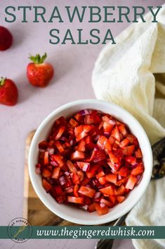 This strawberry salsa recipe is a quick and easy way to add color, flavor, and texture to your meals! Made with fresh strawberries, sweet red peppers, red tomatoes and red onions, this easy red themed table salsa comes together in just minutes and is so delicious! Mini Sweet Peppers, Sweet Red Pepper, Stuffed Sweet Peppers, Strawberry Salsa, Strawberry Recipes, Different Fruits And Vegetables, Cinnamon Chips, Fresh Salsa, Grilled Pork