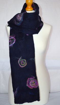 Navy blue felted wool scarf or wrap. Handmade. by jaracedesigns on Etsy