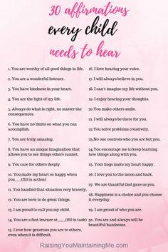 Positive Affirmations For Kids, Positive Discipline, Positive Behavior, Daily Affirmations, Toddler Discipline, Positive Thoughts, Positive Quotes, Motivational Quotes, Gentle Parenting