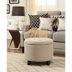 Convenience Concepts Designs4Comfort Round Ottoman - Free Shipping Today - Overstock.com - 18195484 - Mobile